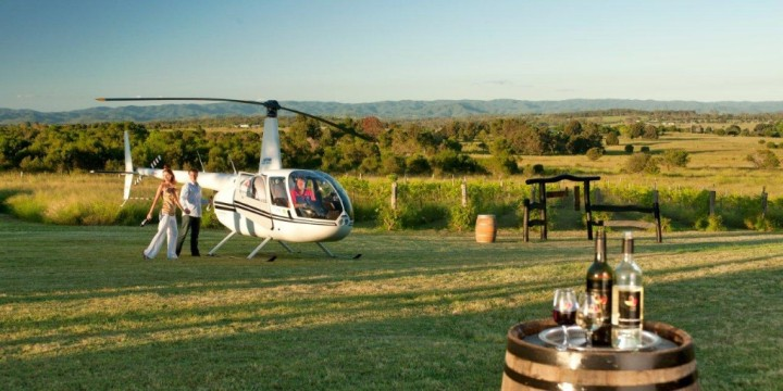 Helicopter flight to a winery